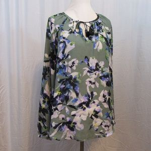 Simply Vera Wang Green Blue Floral Flowy Top L